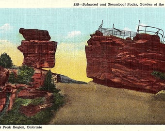Balanced Rock, Steamboat Rock, Garden of the Gods, Colorado, Pikes Peak - Vintage Postcard - Postcard - Unused (LL)