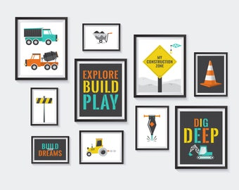 Construction Theme Printable, Nursery Printables, Dump Truck Gallery Wall, Dig, Build, Signs, Builder, Digging, yellow, INSTANT DOWNLOAD