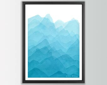 Abstract Mountain Print. Abstract watercolor print. Nature art print. Modern Art print. Modern home decor wall poters. Living room wall art