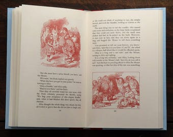 Alice in Wonderland and Through the Looking-Glass vintage book set illustrated by John Tenniel written by Lewis Carroll
