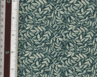 """Teal Green Leaves - 25"""" L X 44"""" W - 100% Cotton Fabric"""
