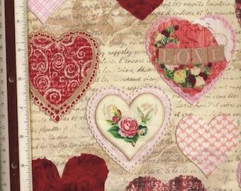 """Valentine's Day Hearts - 37"""" L X 43"""" W - 100% Cotton Fabric"""