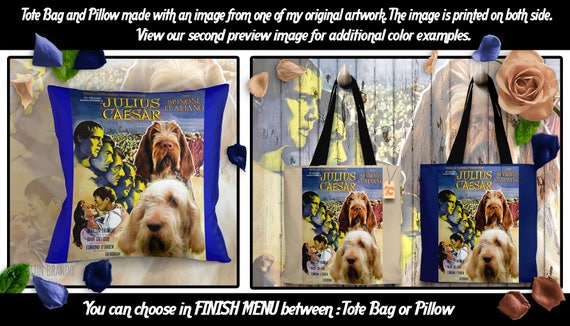 Spinone Italiano Tote Bag or Spinone Italiano Pillow Custom Dog Tote Bag Custom Dog Pillow Italian Spinone Art Movie Poster Nobility Dogs