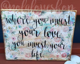 Floral print sign| floral farmhouse| farmhouse sign| floral wood sign| mumford lyrics| distressed sign| rustic flower sign| rustic sign