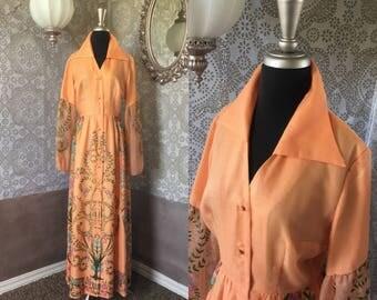 Vintage 1970's Alfred Shaheen Orange Floral Print Button Front Dress Medium