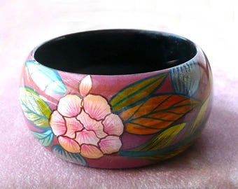 Bangle Bracelet Flower Design Pink Burgundy Greens Retro