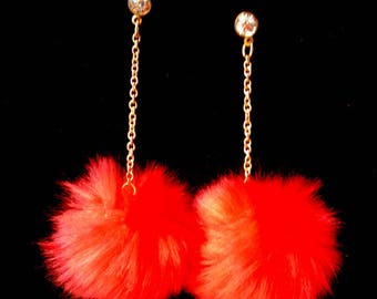 Red Dangle Earrings Pierced Large Puffballs with Rhinestone Unique Fun