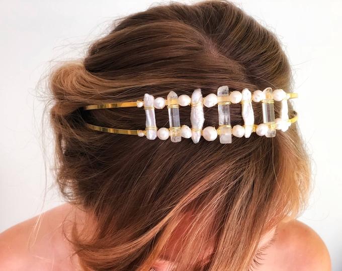 Boho wedding headpiece, Raw Quartz Headpiece, Bohemian Bride Hairpiece, Raw Crystal Headband, Quartz Hair accessory, modern wedding headband