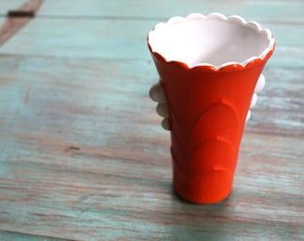 Orange Art Deco Milk Glass Vase, Vintage Vase, Milk Glass, Orange Vase, Floral, Bud Vase