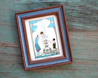 Georges Barbier Le Printemps Framed Card, Georges Barbier Print, Vintage Framed Art, Framed Art, Le Printemps, Vintage Wooden Frame