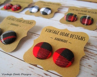 Buffalo Plaid,Buffalo Plaid Earrings,Plaid Earrings,Plaid Studs,Buffalo Plaid Studs,Plaid Jewelry,Button Earring,Button Studs,Button Jewelry