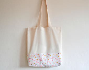 Shopper eco friendly tote market bag accent metallic gold spot lined print cotton zero waste produce shoulder bag in pink, gold and yellow.
