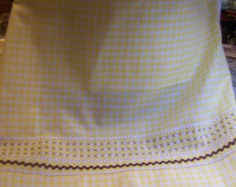 Vintage Yellow Gingham Half Apron with Cross Stitches and 4 Sizes Rick Rack Hand Sewn On