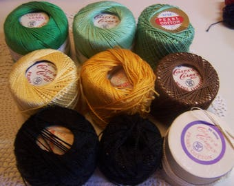 Assorted Vintage Size 5 Pearl Cotton Threads Coats & Clark's, Star, J and P Coats