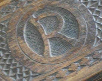 antique ornate carved wood box letter R