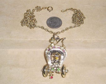 Vintage Whimsical Covered Wagon And Cowboy Pendant Necklace With faux Pearls and Rhinestones 1950's Jewelry 11169