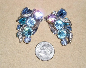 Vintage Signed Eisenberg Blue & Purple Crystal Rhinestones Clip On Earrings Early 1950's Jewelry 11243