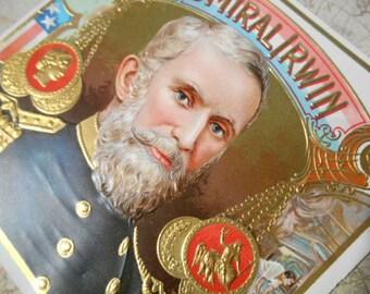 Admiral Irwin Union Civil War Outer Cigar Box Label Lithograph Ephemera