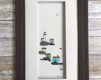 Repurposed Sea Glass and Pebble Art, Art for the Cottage, Lake house, Beach House or Home, Nautical decor, Lighthouse art