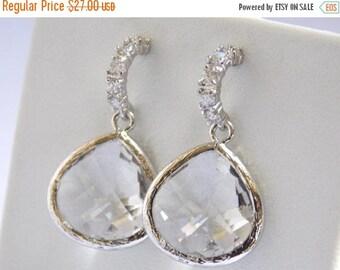 SALE Glass Earrings, Crystal Earrings, Clear Earrings, Cubic Zirconia, Silver, Bride, Bridesmaid Earrings, Bridal Earrings, Bridesmaid Gifts