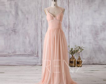 Bridesmaid Dress Peach Chiffon Wedding Dress,Criss Cross Spaghetti Strap Evening Dress,Ruched Maxi Dress Floor Length (F123)-RENZ