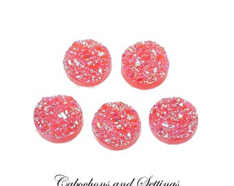 Druzy Round  12mm Bezel Cabochons Sweet Pea Pink 10 Pieces - AUSTRALIA