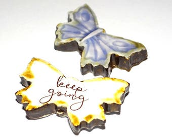 Ceramic Large Double Sided Quote Word Butterfly Bead  Handmade Focal