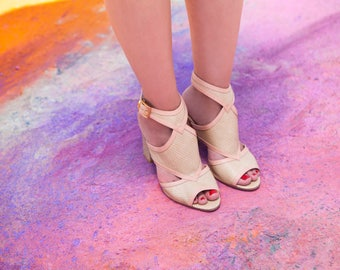 Nude pink high heel sandal / women shoes / bridesmaids shoes / high heel peep toe shoe / non leather sandal / vegan leather / Evening sandal