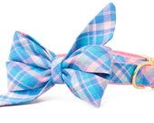 Crew LaLa ™ Pink & Blue Vacation Plaid Belle Bow Dog Collar