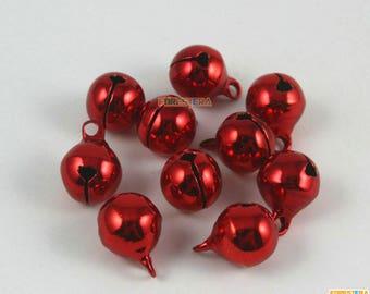50Pcs 10mm Red Bells Jingle Bells Christmas Bells Pet Bells (Bell23)