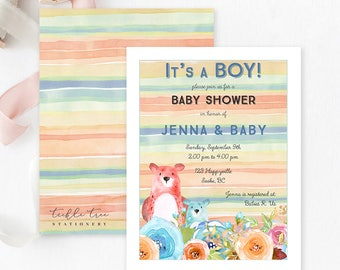 Baby Shower Invitations  - It's a Boy/Watercolour Bears and Flowers (Style 13573)