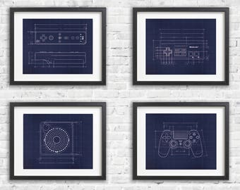 Four Print Gift Set -  Blueprint Game Poster - Gamer Wall Decor - XBOX - ATARI - Playstation - NES - Wii - Gamer Gift - Nintendo Wall Decor