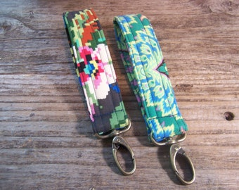Amy Butler  Key Fob quilted in a beautiful designer cotton fabric - lobster clasp in antique gold - key ring with clip on.
