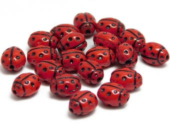 Czech Glass Ladybug Beads - red