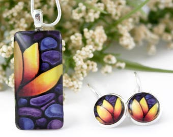 Tulip Jewelry Set - Yellow Tulip Necklace & Earring - Purple Glass Pendant - Stained-Glass Floral Jewelry - Art Nouveau Charm - Gift for Her