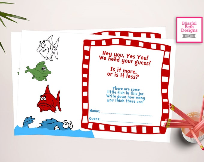 SEUSS GUESSING GAME Seuss Baby Shower Game, Seuss Guess Fish Game, Seuss Game, Seuss Baby Game, Seuss Fishing Game, Baby Shower Game, Seuss