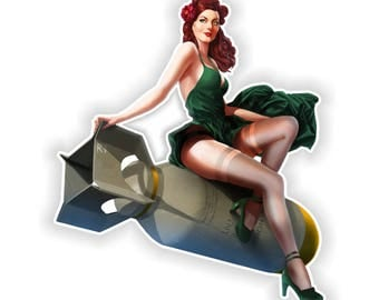Pin Up Girl Sticker Vintage Sexy #07 - 8.5x10cm (3.3 x 4inches) for Laptop Tablet Helmet Motorcycle Bumper US Army Bomb