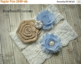 SALE LIGHT BLUE Burlap Bridal Garter Set - White Keepsake & Toss Wedding Garters - Chiffon Flower Rhinestone Garters - Rustic Wedding Garter
