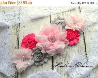 SALE PINK GRAY Chiffon Flower Maternity Sash Belt - Pregnancy Photo Prop - It's A Girl - Pregnancy Sash  - Gender Neutral Sash - Pink White