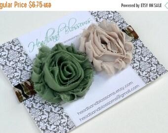 SALE Chic CAMO - Army Green Tan Shabby Frayed Chiffon Flower Rosettes Camouflage Elastic Headband - Newborn Baby Toddler Girl Tween Adult