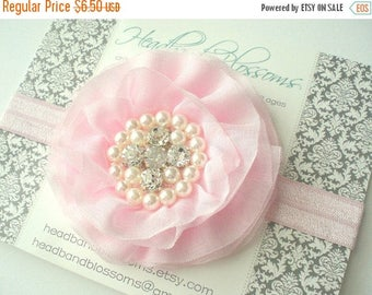 SALE Lovely Rhinestone & Pearl Light Pink Chiffon Flower on Elastic Headband or Clip - Newborn Baby Girl Adult - Christening Baptism - Off W