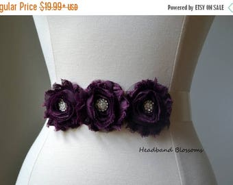 SALE Flower Girl - Bridesmaid Eggplant Purple Chiffon Flower Sash - Wedding Belt - Satin Ribbon Sash - Prom Sash - Dark Purple - Bridal Belt