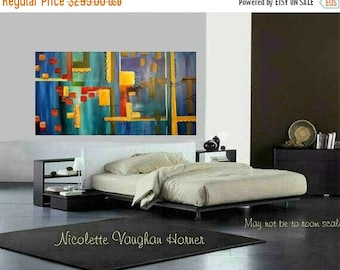 "SALE XLarge Contemporary Modern Multi Colored  Abstract Original 48"" palette knife impasto oil painting by Nicolette Vaughan Horner"