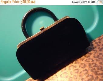 On Sale Vintage Black Velvet Clutch Purse High End Quality Mid Century Retro Rockabilly Glamour Girl Style Handbag