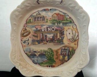 On Sale Casino Vintage Plate * Retro Home Decor * Reno Man Cave Collectible * Dice Roulette Poker Cards Slot Machine