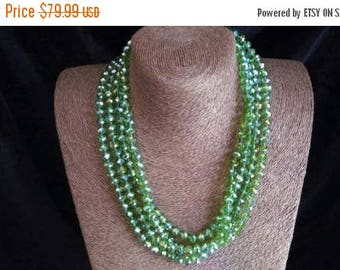 Now On Sale Vintage Long Necklace - Green Iridescent Crystal Glass Flapper Jewelry - 80 Inches - High End Estate Jewelry