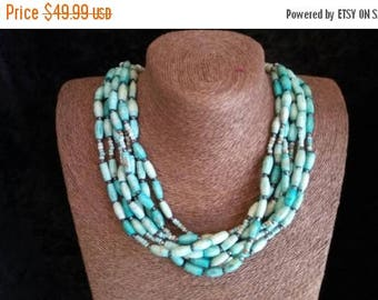 Now On Sale Native American Style Jewelry ** Vintage Faux Turquoise Stone Necklace ** 1960's 1970's Collectible Southwestern Jewelry