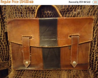 Now On Sale Vintage Distressed Handcrafted Leather Briefcase 1930's 1940's Antique Retro Collectible Art Deco Accessory Martini Mermaid