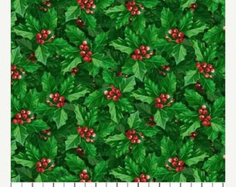 20 % off thru 7/4 JOLLY OLD St NICHOLAS- green holly and red berries- Northcott Christmas cotton quilt fabric by the yard
