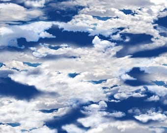 12% off thru July OUR NATIONAL PARKS~dark royal blue sky with clouds  by the 1/2 yard Quilting Treasures fabric-24404-y